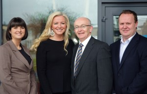 Sendmode's Marketing Manager Aine Doherty and Sales Manager Trevor Dougherty pictured with Michelle Mone and Michael Tunney of DCEB.